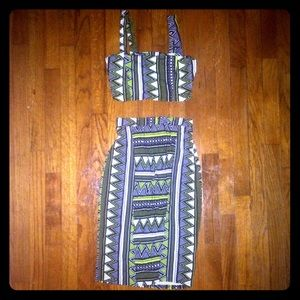 2 piece skirt top set