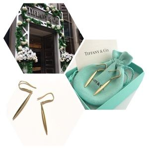 Tiffany & Co 18K Gold Feather Earrings
