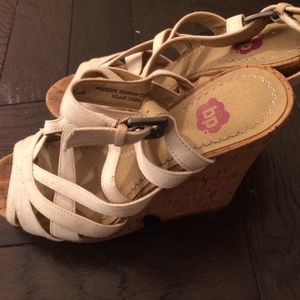 MOVING SALE  BP White cork wedge heel shoes