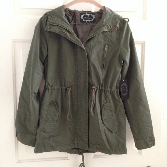 Ambiance - Lightweight Military Khaki Green Parka Jacket Coat from ...