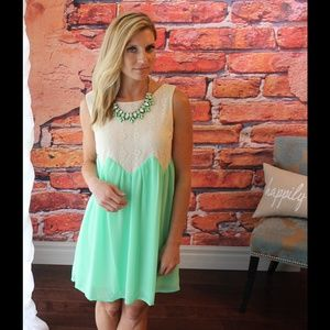 Mint and ivory lace dress