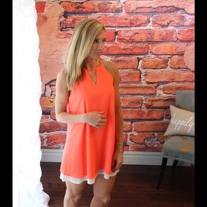 Dark neon coral and ivory layered dress