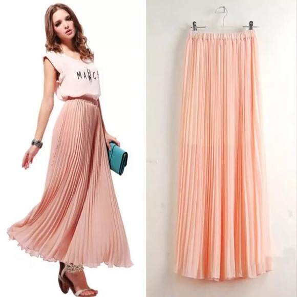 56% off Dresses & Skirts - Pink light Maxi skirt Pleaded from ...