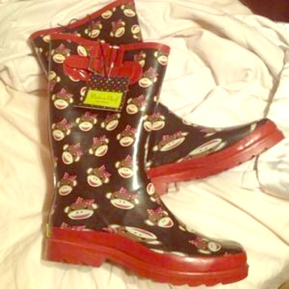60 Off Boots Size 7 Sock Monkey Rain Boots So Cute