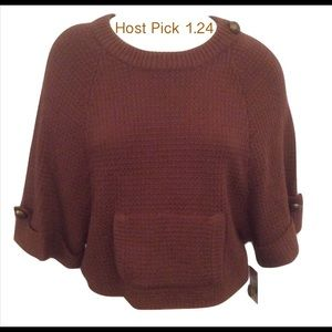 NWT Brown Vince Camuto Sweater Cape Size Medium
