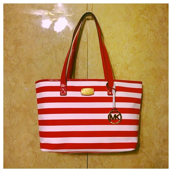 28% off Michael Kors Handbags - Michael Kors Red & White Striped ...