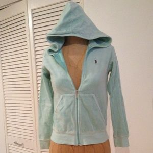 Juicy Couture mint green velour hoodie 14 P XS