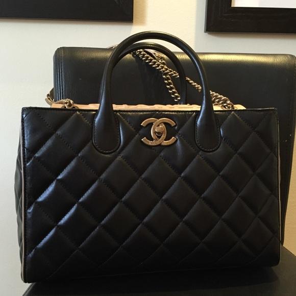 d1c9e52a2f0f CHANEL Large Shopping Bag 30CM Black Nude NWT