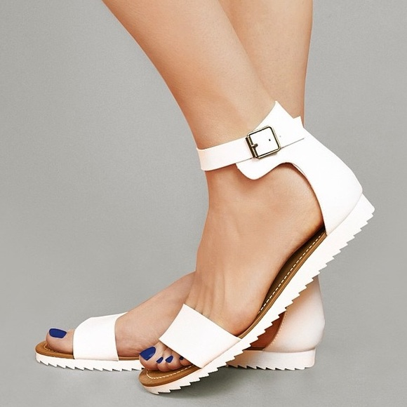 outlet for sale sale hot product Mossimo White Ankle Strap Flat Sandals sz 6.5/7