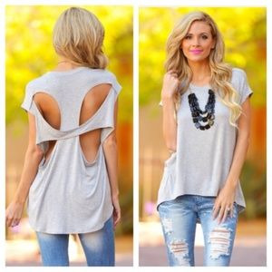 ❗JUST IN❗ Cut Out Basic Heather Gray Tee Shirt