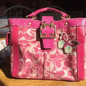 ⭐️SALE⭐️ Coach Pink Velvet and Python Handbag