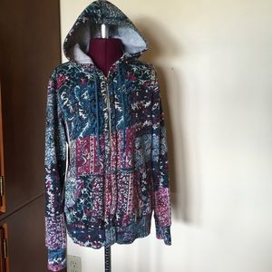 Lucky Brand Turquoise Fuchsia Patchwork Hoodie M
