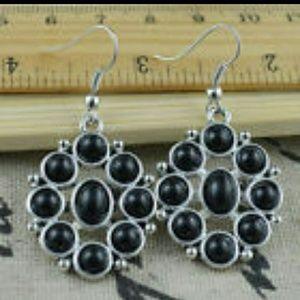 Jewelry - Black Turquoise Tibetan Silver Earrings.