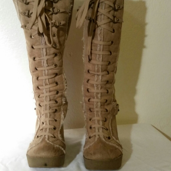 bamboo wedge boots from connie s closet on poshmark