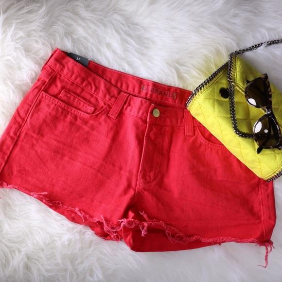 J Brand Red Denim Cut Off Shorts NWT