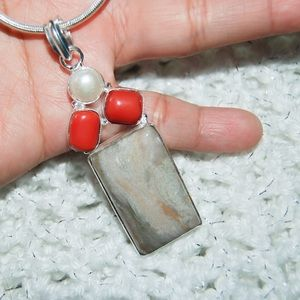 Cute Red Onyx,River Pearl & Jasper Pendant 2 3/4""