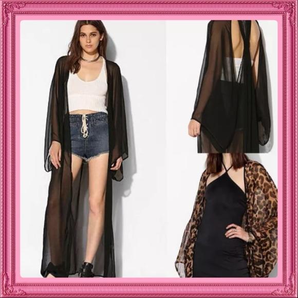 Boutique - Sold Leopard Sheer Maxi Kimono/Cardigan OSFM from !nora ...