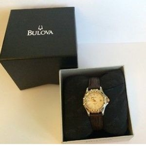 Bulova Brown Leather Water Resistant Date Watch