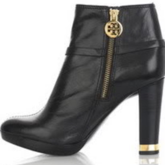 95% off Tory Burch Shoes - Tory burch black logo ankle boots w ...