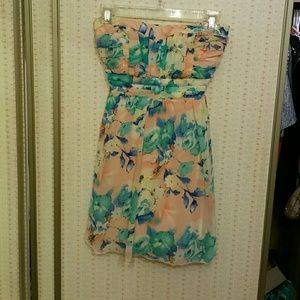 Peach floral strapless dress