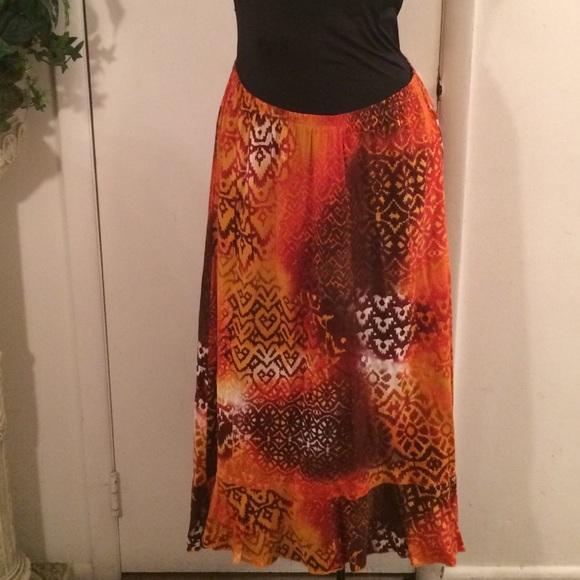 54 notations dresses skirts orange high low skirt