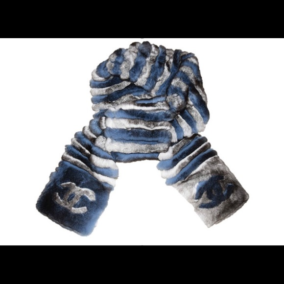 41d89d63d7c0 New Chanel Orylag Fur CC Scarf in Gray and Blue