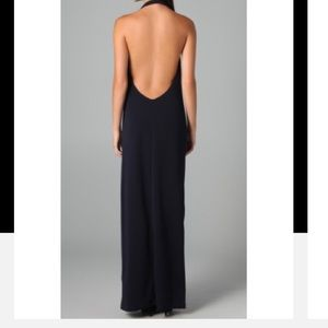 Foley + Corinna navy cowl neck open back gown
