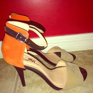 Colorblock ankle strap heels