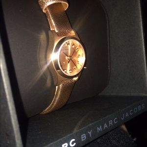 Marc Jacobs Rose Gold Leather Strap Watch