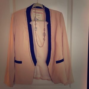Anthropologie Pink Cutout Color Block Blazer