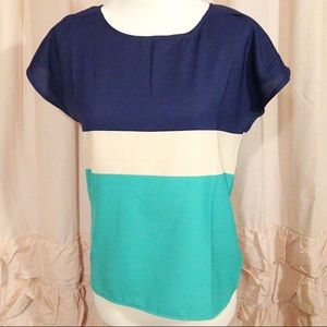 Color Blocked Navy & Green Blouse