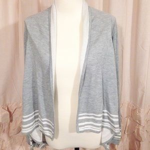 Super Soft Striped Gray Cardigan
