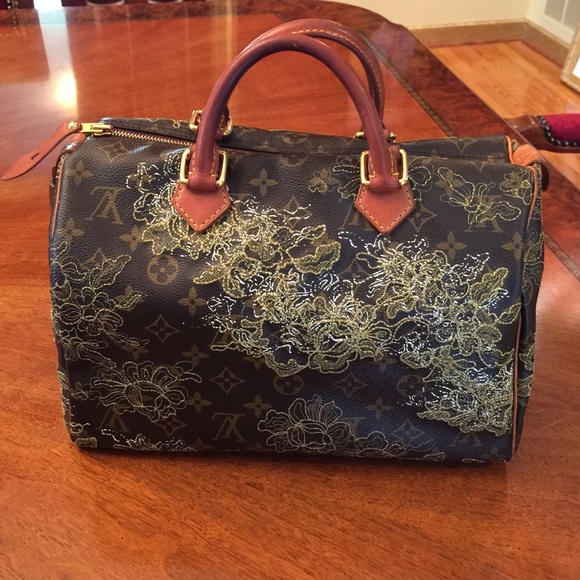 Louis Vuitton Handbags - 100% Auth LV Gold Lace Dentelle Speedy 30 Bag 3485e4edb5329