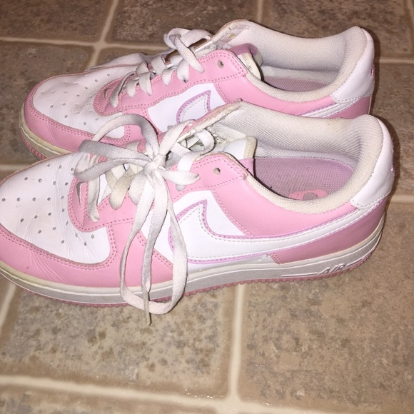 pink and white, Nike air forces 1s