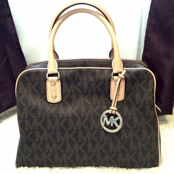 02cabd94c090 Michael Kors signature PVC logo brown bag. M_553bc4a49818294504006b64