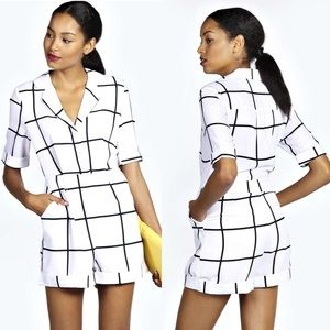 [Boohoo]large grid check playsuit