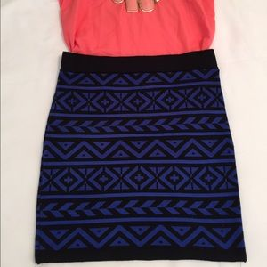 Forever 21 Dresses & Skirts - Blue Aztec Print Bandage Skirt Size S NWOT