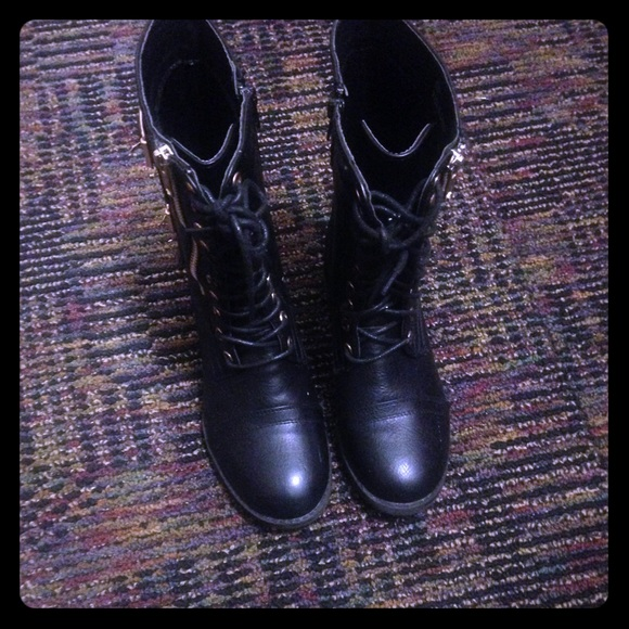 Black Combat Boots With Gold Buckles