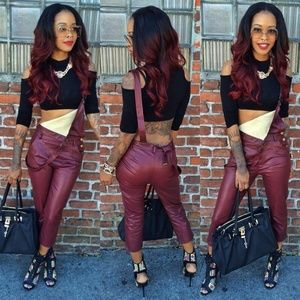 Burgundy faux leather overalls