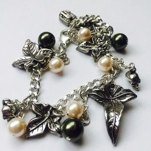 Nymph Wild Ivy, Pearls and Skulls Charm Bracelet