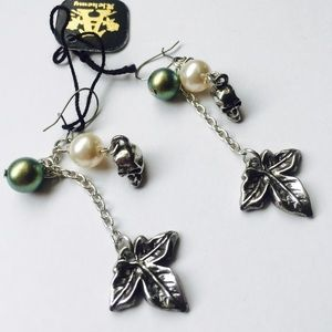 Wild Ivy, Pearls and Skulls Charm Earrings