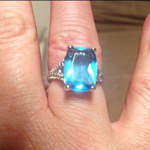 Jewelry - New!! Gorgeous Blue Topaz Cocktail Ring- Sz 7