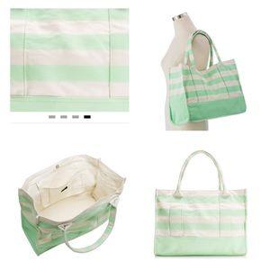 New! J. Crew Mint Stripe Canvas Beach Tote Bag