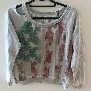 Chaser deconstructed american flag sweatshirt