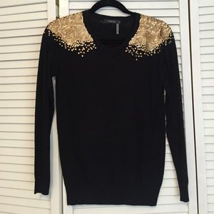 Theme Sweaters - Sequin shoulder sweater.