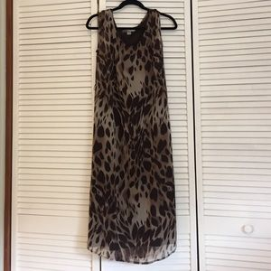 Sheer animal print midi dress.