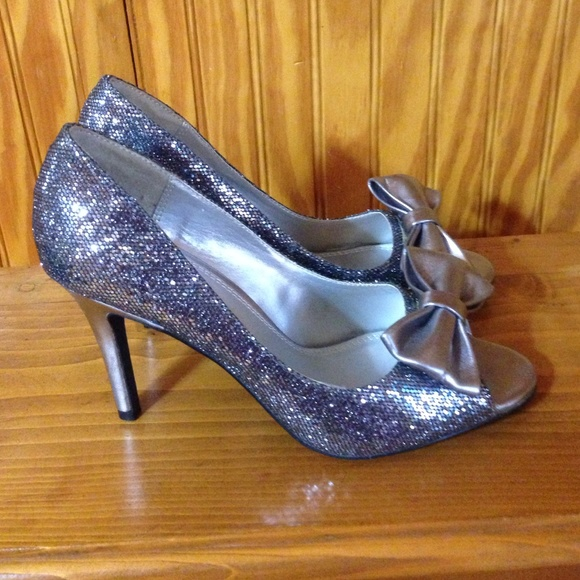 60% off Cato Shoes - Silver Gunmetal Bow Glitter Peep Toe ...