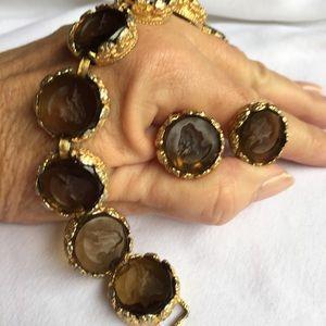 Vintage cameo earrings and bracelet
