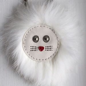 Authentic Coach Keychain Fob NWT Mink Lion White