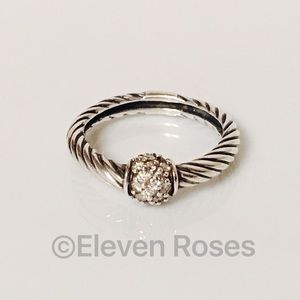 David Yurman Sterling Pave Diamond Station Ring